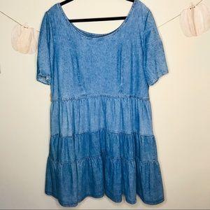 🔥 VINTAGE chambray tiered dress ruffle mini boho